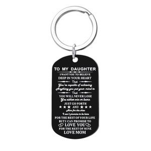 Jewelry - To My Daughter Love Mom Black Dog Tag Keychain
